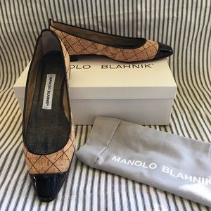 Manolo Blahnik Quilted Cork Two-Tone Flats